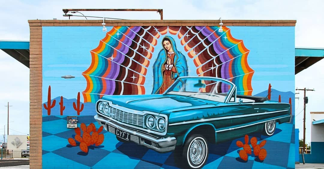 Desert Suds CarWash Serape Sunrise Mural murals in downtown Tucson