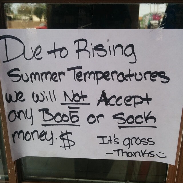 Gross Money Store Sign Arizona Heat