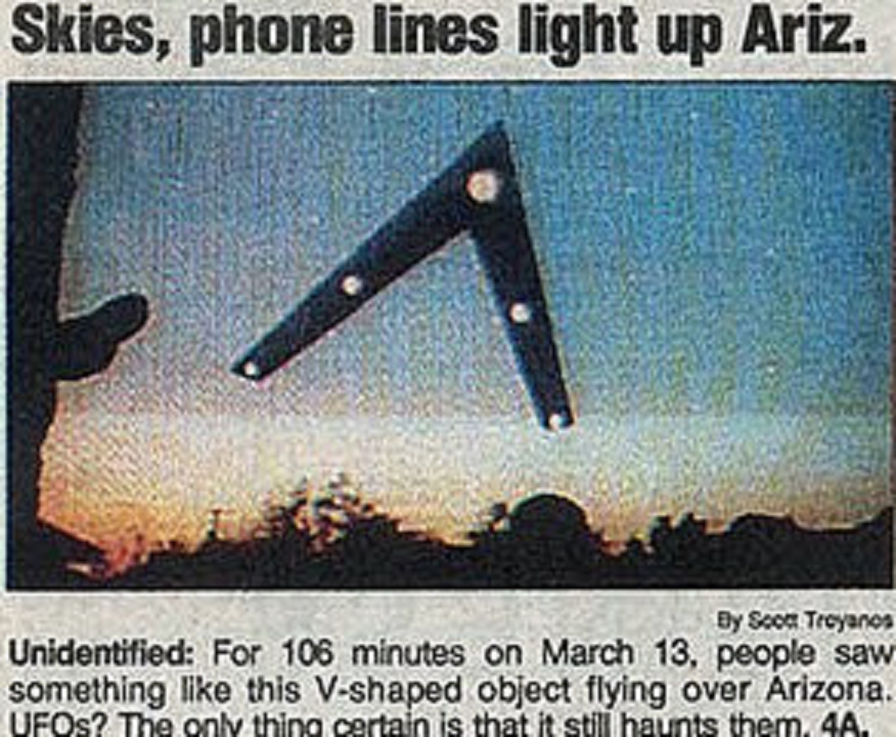 Old Newspaper Article Phoenix Lights USA Today