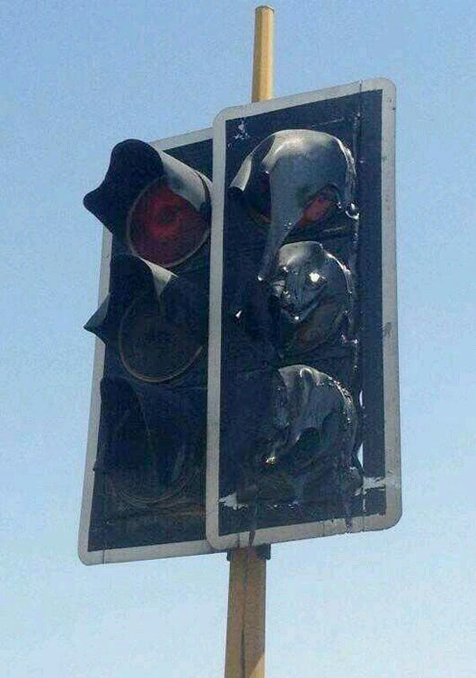 Melted Traffic Light in arizona