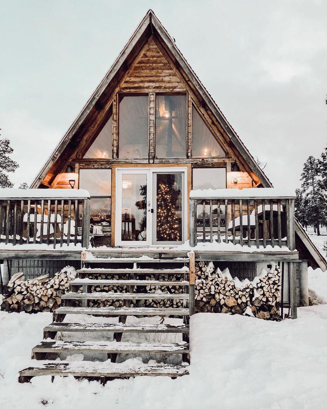 A-frame cabin Arizona winter