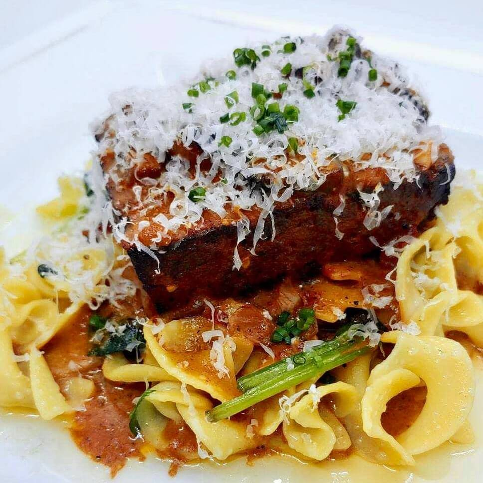 Bacon Bison Meatloaf with Chasseur Sauce